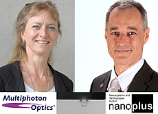 Image: Dr. Ruth Houbertz, CEO & Managing Director of Multiphoton Optics GmbH, and Dr. Johannes Koeth, CEO of nanoplus Nanosystems and Technologies GmbH, closed the agreement to manufacture laser sources with microoptics (as pictured bottom middle).